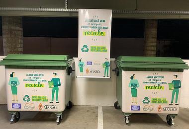 Coleta seletiva do Emporium Roma já recebeu mais de 4 mil kg de material para reciclagem