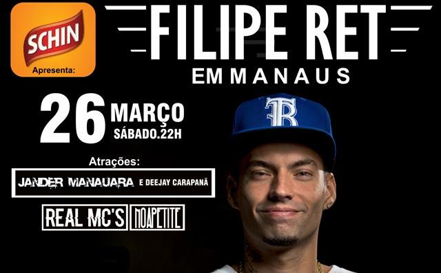 Sábado (26) o rapper carioca Filipe Ret de volta a Manaus