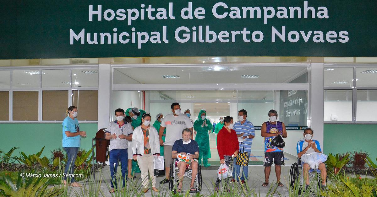 Mais dez pacientes vítimas da Covid-19 recebem alta no Gilberto Novaes