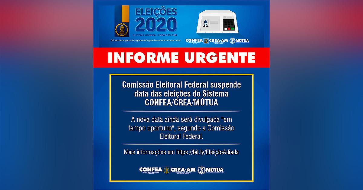 Eleições do Sistema CONFEA/CREA/MÚTUA são adiadas